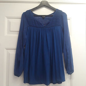 Lucky Brand Royal Blue Sheer Sleeve Top
